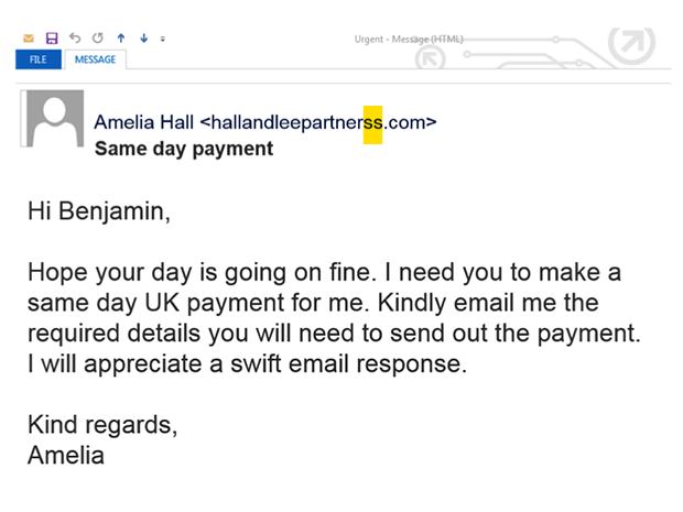 Example of Whaling - Spear Phishing