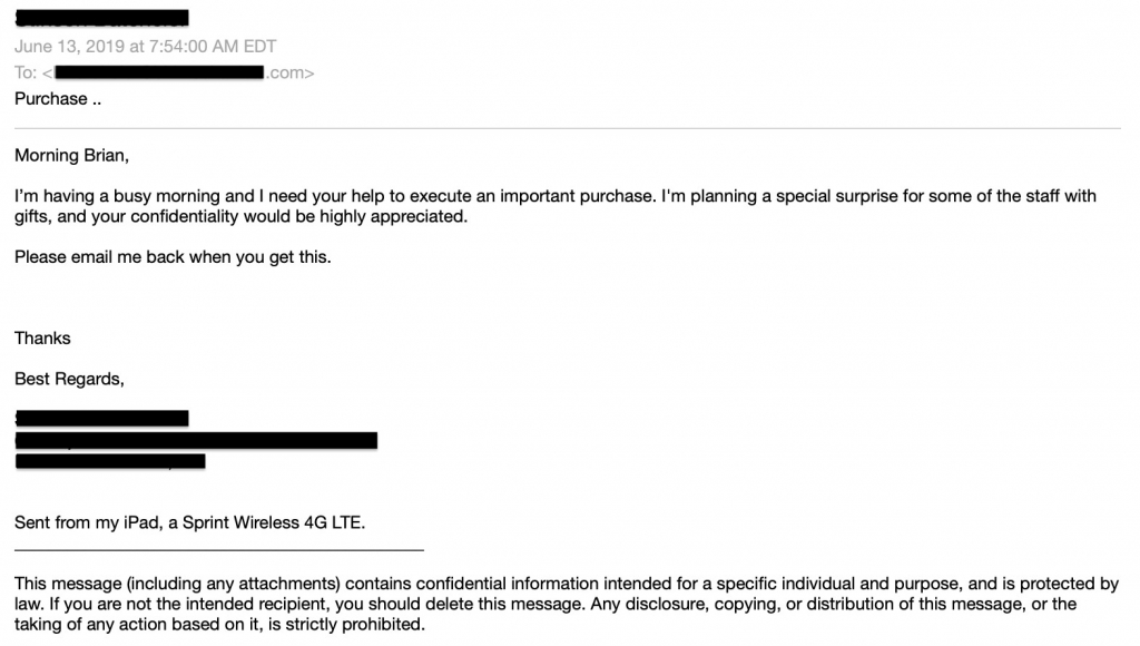 Example of Pretexting - Spear Phishing